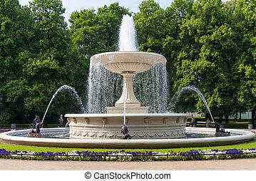 el, fuente, parque