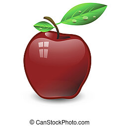 red apple - colorful illustration with red apple for your...