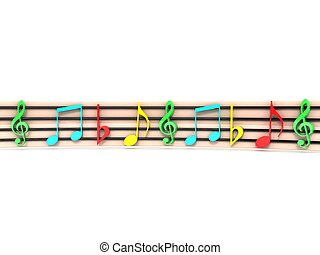 colorful musical clefs - front view of isolated three...