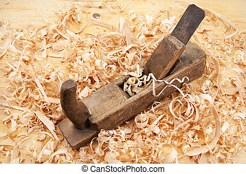 jack plane, wood chips and sawdust - Hand jack plane, wood...