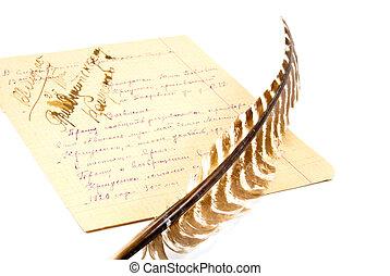 cheio, folha, notas, isolado, papel, fundo, branca, pena