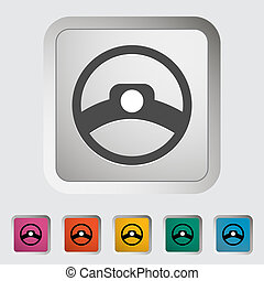 Steering wheel. Single icon. Vector illustration.