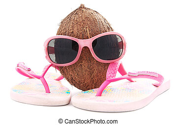 happy coconut concept for travel agency with sunglasses and...