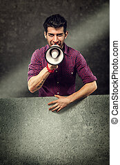 Advertising with megaphone and messageboard - Advertising...