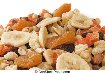 Mountain of Trail Mix with copy space white at the top with...