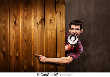 Advertising with megaphone and wooden messageboard -...