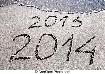 heureux, nouveau, année, 2014, remplacer, 2013