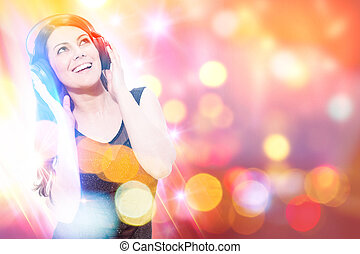 Colorful Audio - Conceptual photo of smiling woman listen to...