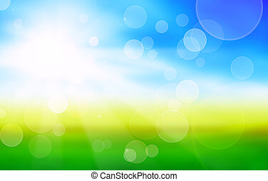 sunshine spring background with green fields and blue sky