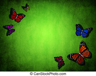 spring green background with butterfly