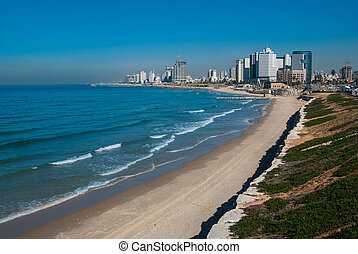 Tel-Aviv coastline view - Costline view of Tel-Aviv, viewed...