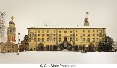 Castle of Udine with snow - Rear view with the square of...