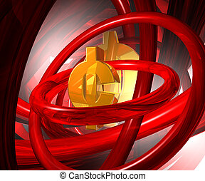 cent symbol - golden cent symbol in abstract space - 3d...