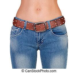Slim naked girl in jeans