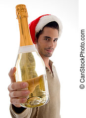young guy celebrating christmas with wine with white...