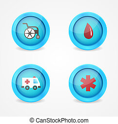 Vector set of medical icons on white background
