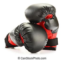 couro, boxe, luvas, isolado, branca
