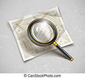 loupe magnifying glass tool with streets paper map