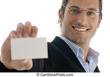 young handsome attorney holding business card on an isolated...
