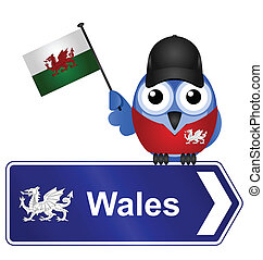 Wales sign - Comical Wales sign isolated on white background...
