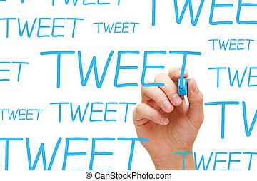 Tweet Concept - Hand writing Tweet with blue marker on...