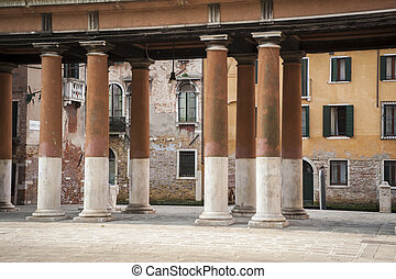 Colonnade and buildings, Venice