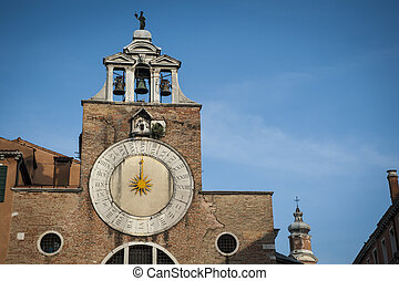 Sundial, bell tower, Venice, Italy - Sun dial on a bell...