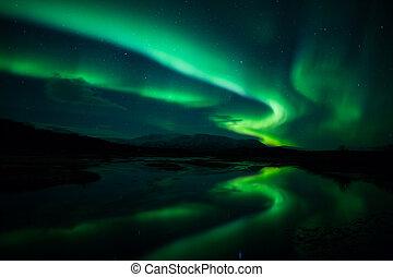norteño, luces, Islandia