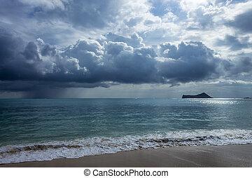 Rain Clouds At Waimanalo - Rain clouds over beautiful...