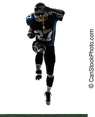 american football player man running silhouette - one...
