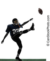 american football player man kicker kicking silhouette - one...