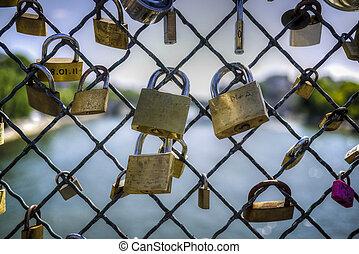 Locks symbolizing eternal love - Padlocks on a bridge...