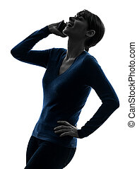 woman on the telephone laughing  silhouette