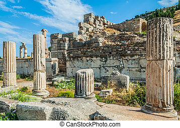 Ephesus ruins Turkey - Ephesus ancient greek ruins in...