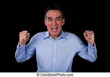enojado, gritos, empresa / negocio, hombre, sacudida,...