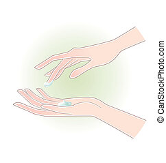 woman hands with moisturizing cream - Beautiful woman hands...