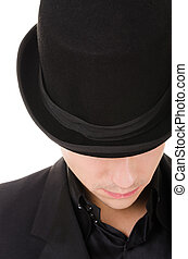 Retro stylish man in black hat and suit