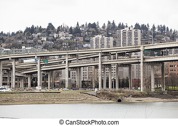 Marquam Bridge with Downtown Portland in the Background -...