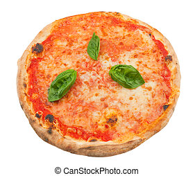 Pizza Margherita on white background