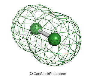 Elemental chlorine (Cl2), molecular model. Atoms are...