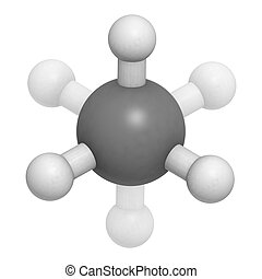 ethane natural gas component, molecular model. Atoms are...