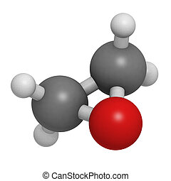 Ethylene oxide (oxirane), molecular model. Ethylene is the...