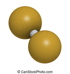 Elemental fluorine (F2), molecular model. Atoms are...