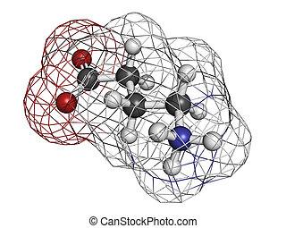 gamma-aminobutyric GABA neurotransmitter, molecular model...