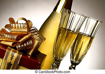 holiday card - golden champagne and gift