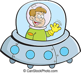 Cartoon boy in a spacecraft - Cartoon illustration of a boy...
