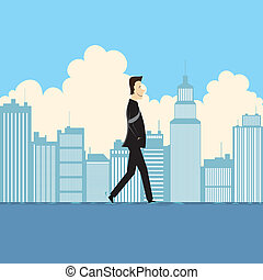 Businessman Walking on Water - Vector illustration of a...