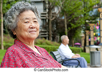 portrait of a happy grandmother