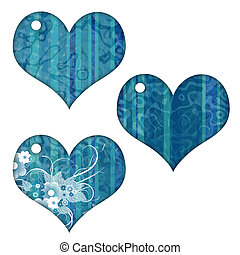 Heart Collection - 3 hearts with stripes, grunge and flowers