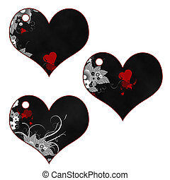 Heart Collection - 3 black hearts with white flowers and red...